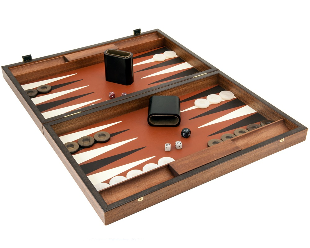 Manopoulos Luxury Sienna and Mahogany Backgammon Set