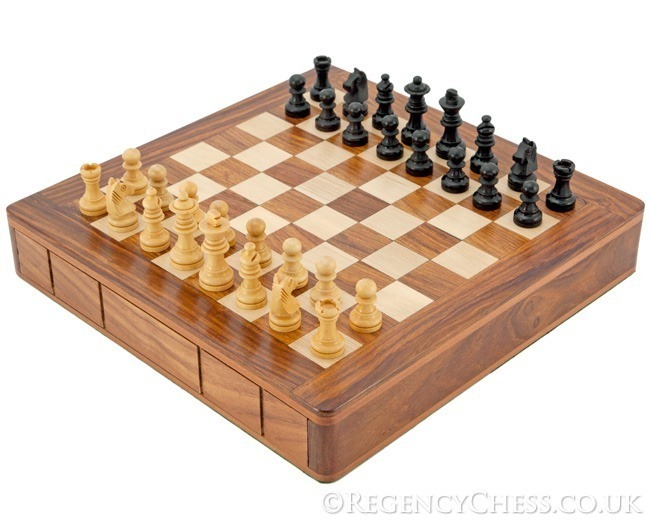 10 Inch Sheesham Sliding Drawer Chess Set