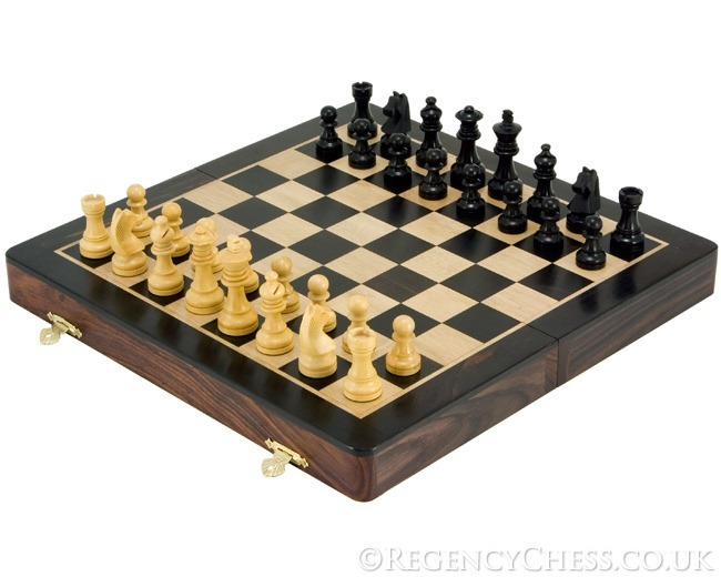 12 Inch Rosewood and Ebony Magnetic Folding Chess Set