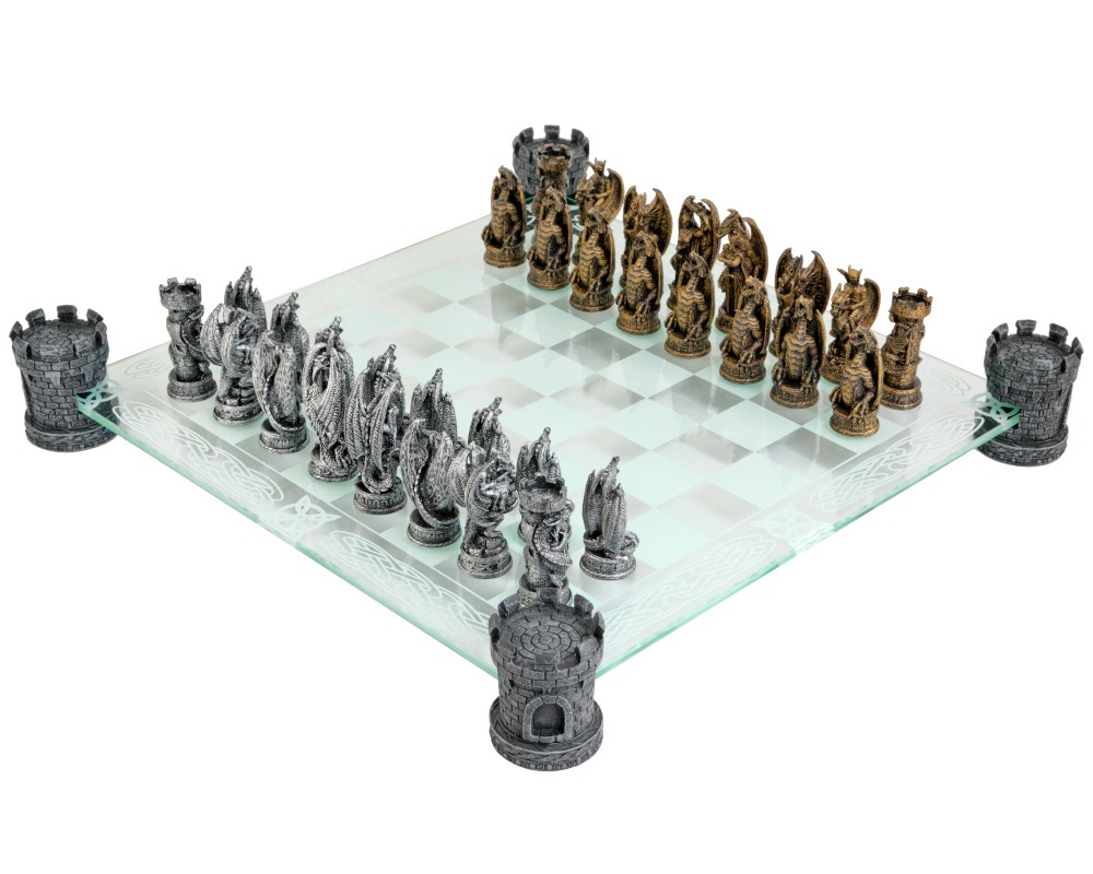Kingdom of the Dragon Glass Chess Set