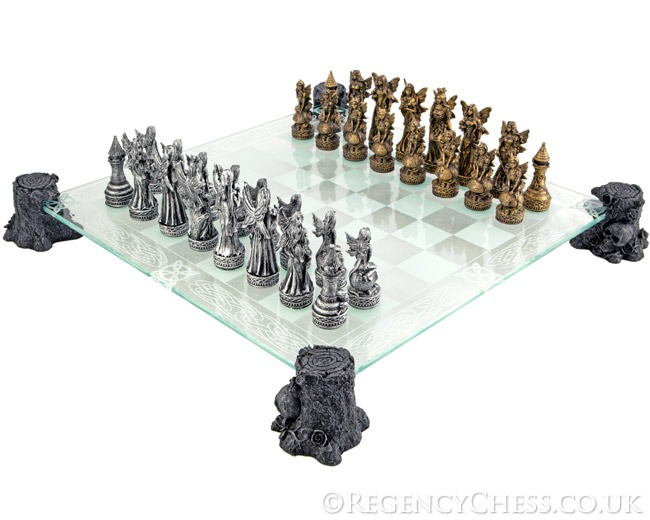 Gothic Faerie Fantasy Glass Chess Set