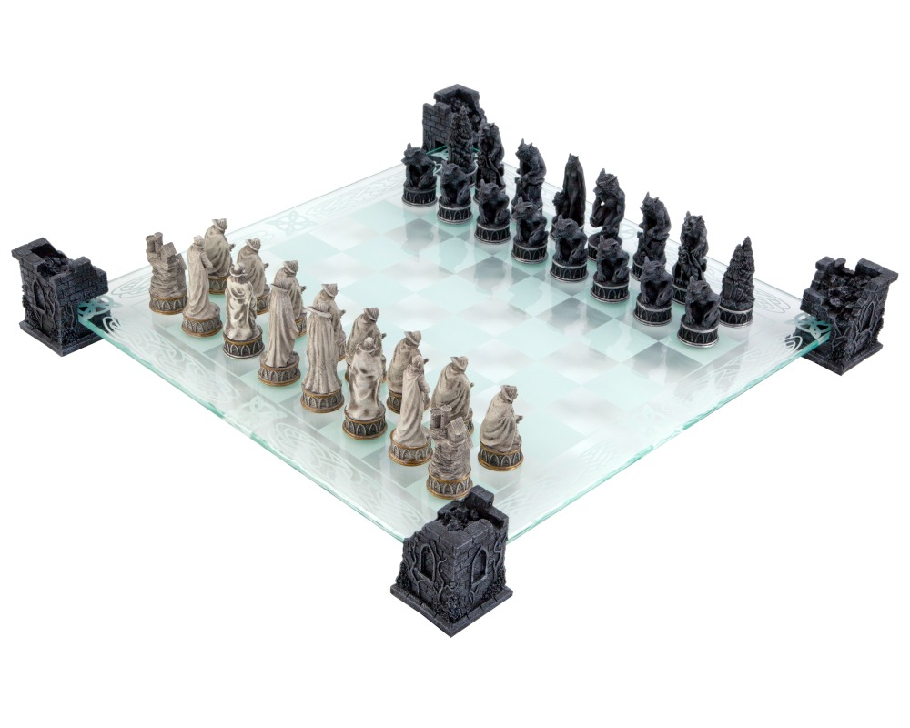 Vampire & Werewolf Glass Chess Set