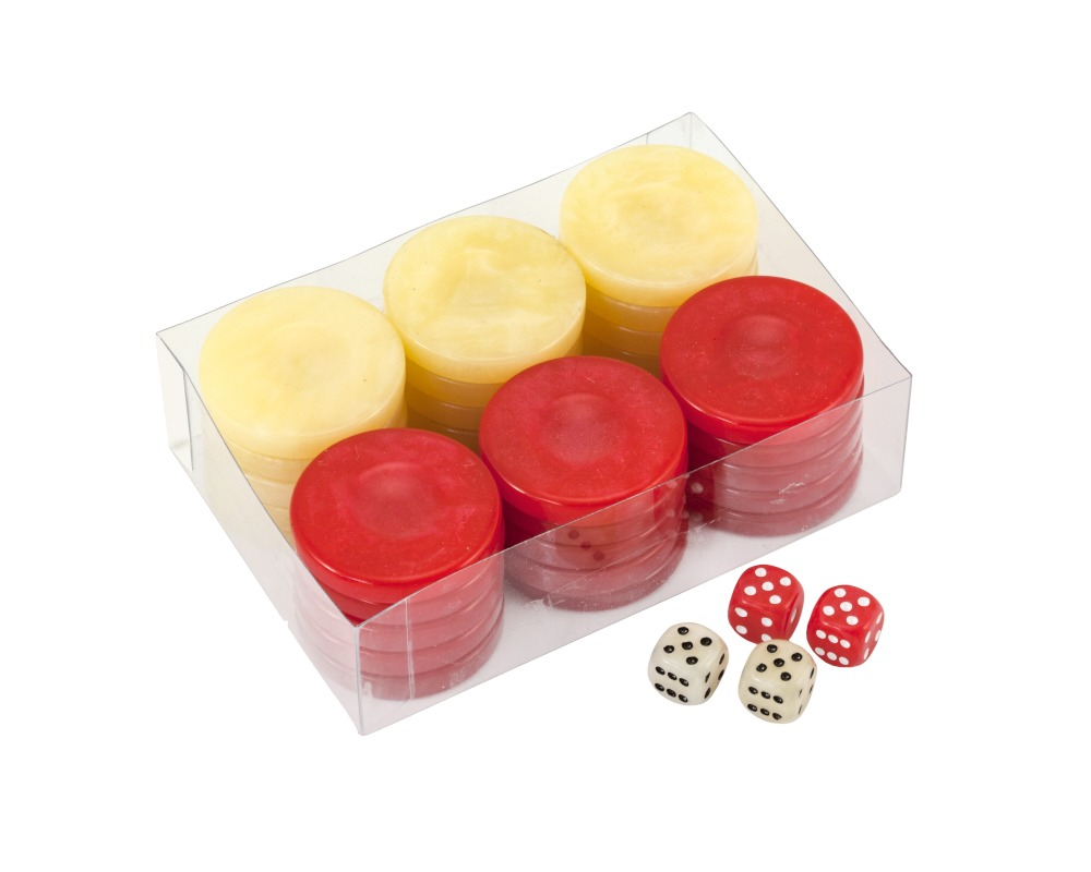 Deluxe Olive Wood Backgammon Stones Natural /& Red 36mm
