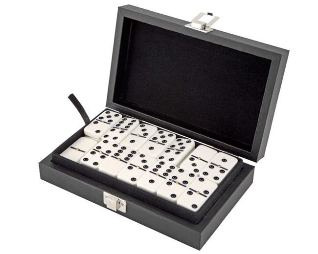 Dominoes 9's with Spinners in Leatherette Case