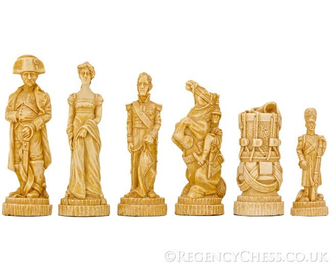 Battle of Waterloo Undecorated Figurative Chessmen 4.25 Inches