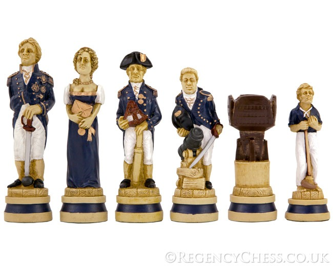 Battle of Trafalgar Hand Painted Figurative Chessmen 5.5 Inches