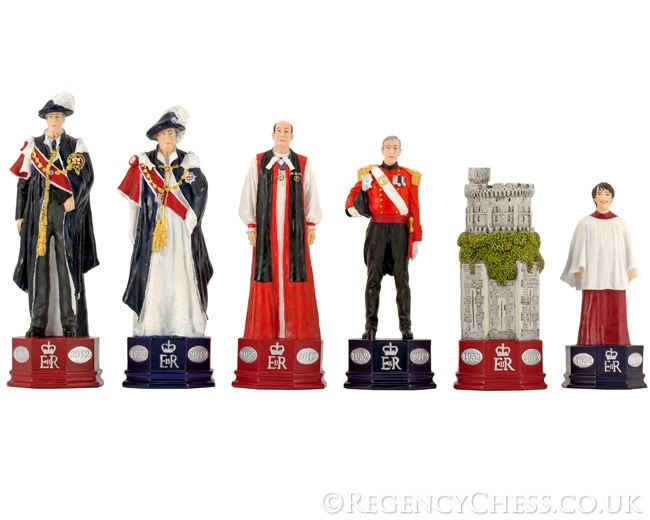 Official H.M. The Queen's Diamond Jubilee Chess Set Hand Painted