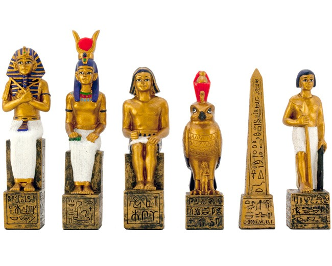Egyptian Figurative Hand Painted Chess Pieces 4.5 Inches