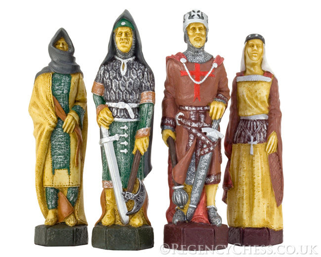 Crusades Hand Painted Figurative Chess Pieces 5.5 Inches