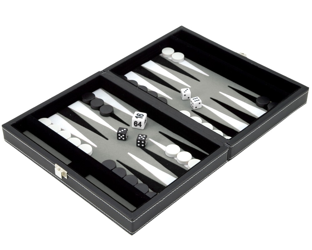 9 Inch Magnetic Leatherette Backgammon Set with Grey Felt Inlay