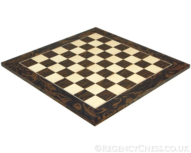 19.7 Inch Tiger Ebony and Maple Deluxe Chess Board