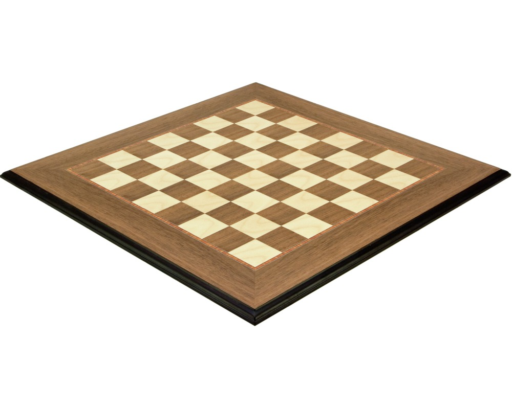 19.7 inch Moulded Walnut and Maple Deluxe Chess Board