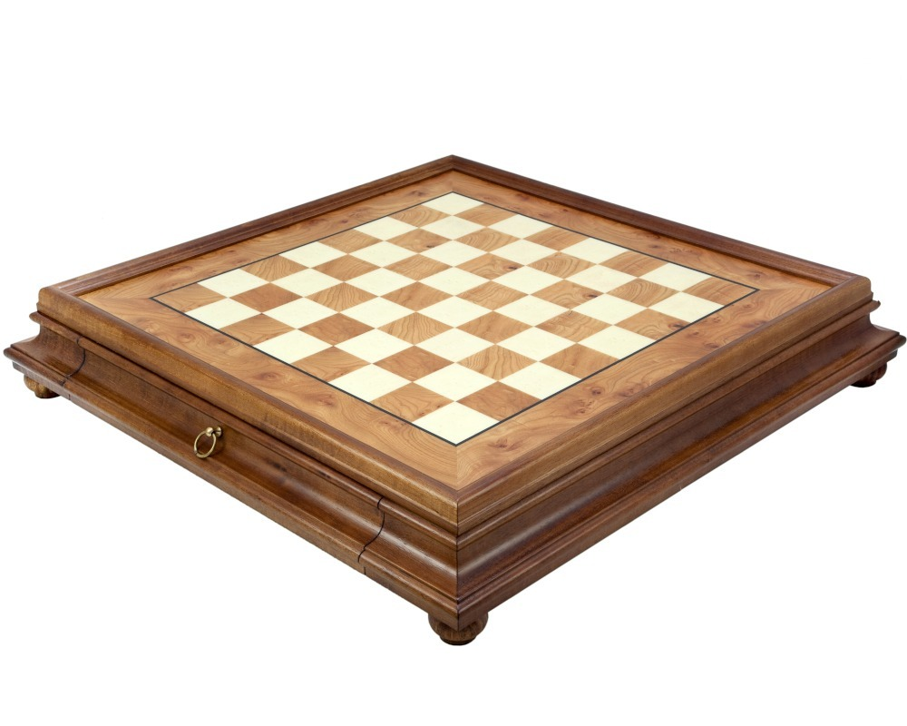 23.6 Inch Briarwood and Elm Chess Cabinet with Drawer