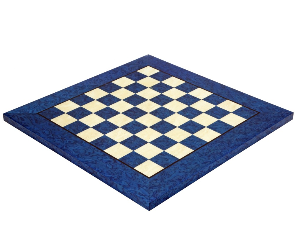 17 Inch Blue Erable and Elm Wood Luxury Chess Board