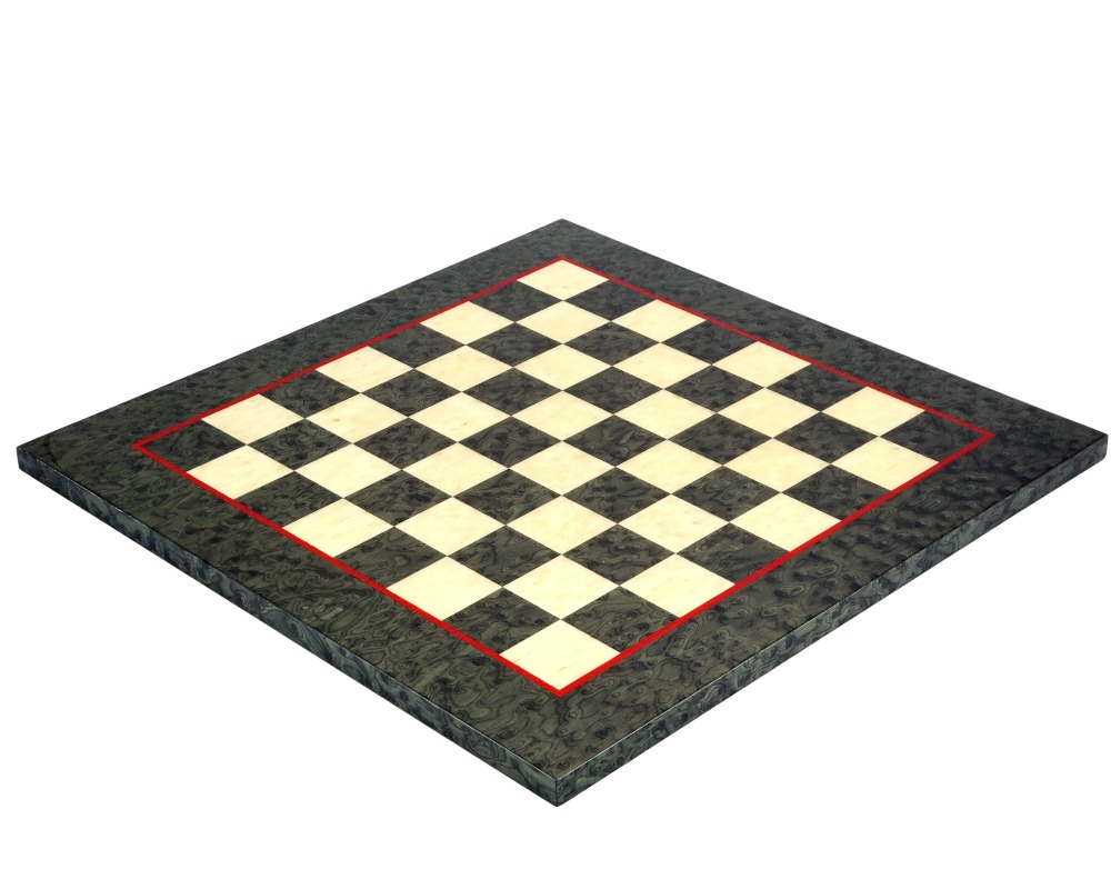 17 Inch Olive Green Erable and Elm Wood Luxury Chess Board