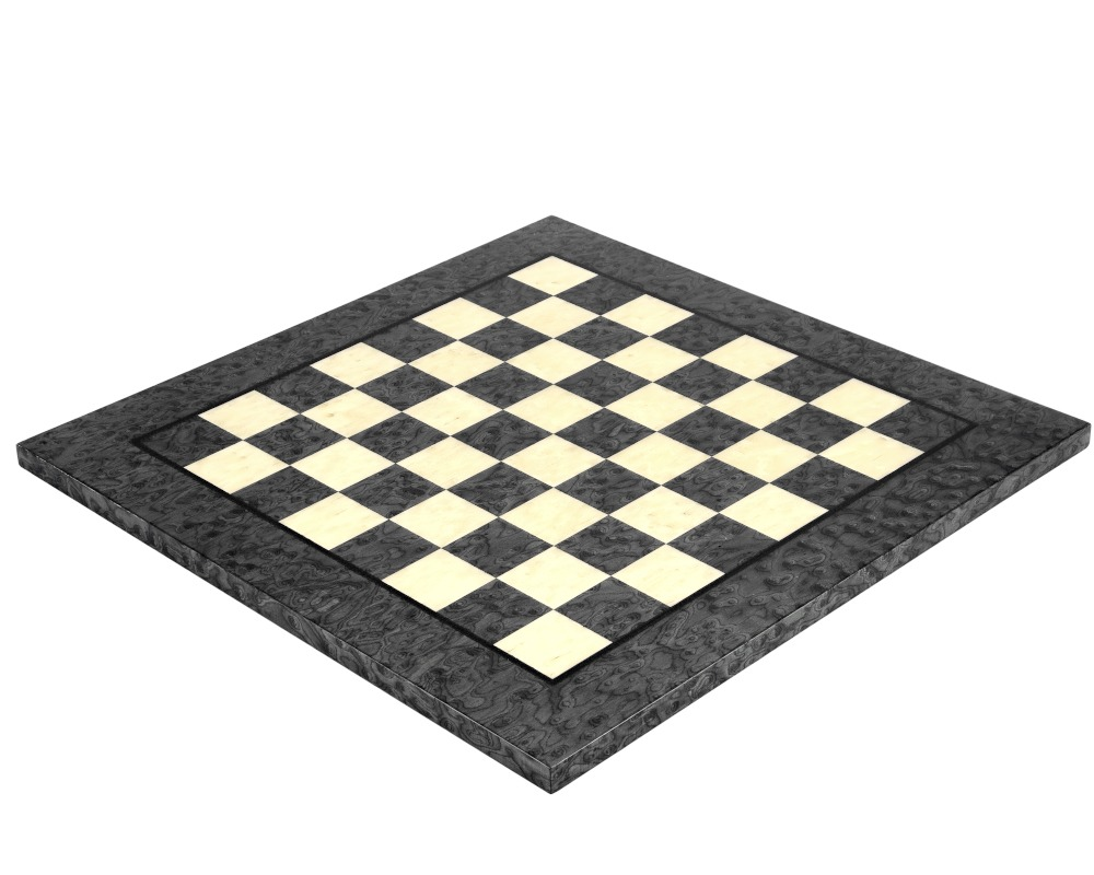 17 Inch Dark Grey Erable and Elm Wood Luxury Chess Board