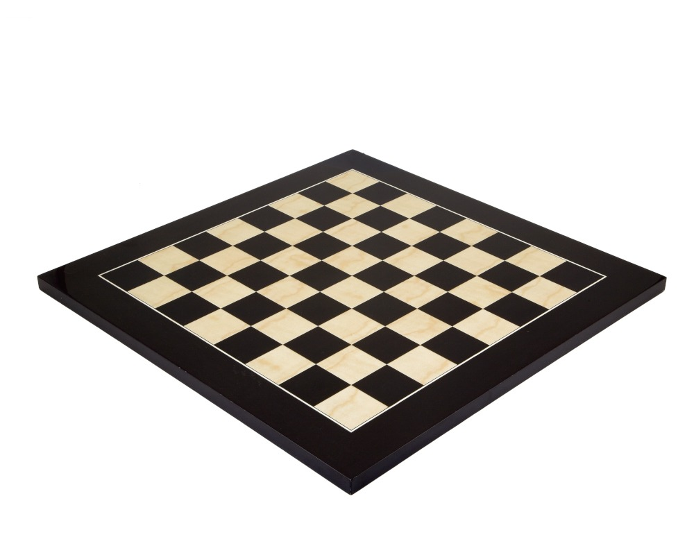 17.7 Inch Lacquered Black Anegre Deluxe Chess Board
