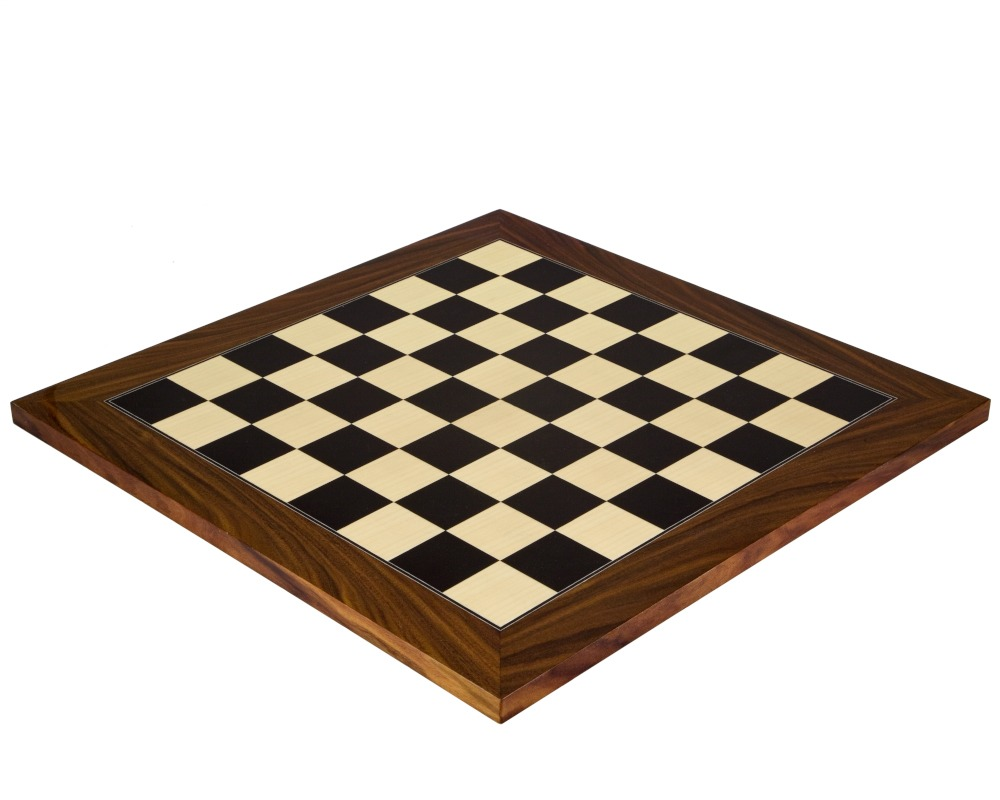 17.7 Inch Black Anegre and Palisander Deluxe Chess Board