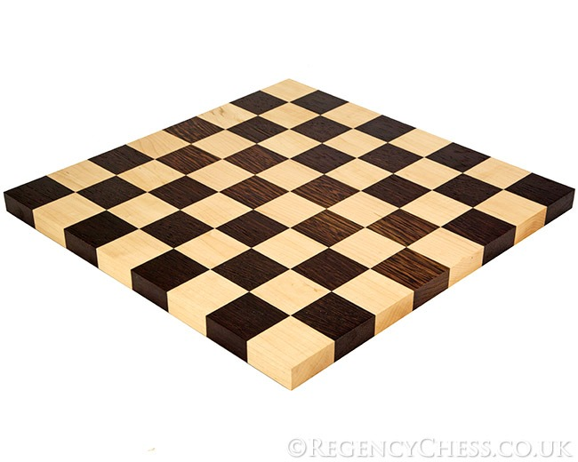 14 Inch Solid Wenge and Maple Edge to Edge Chess Board