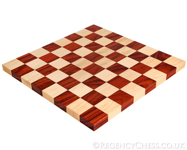 14 Inch Solid Padauk and Maple Edge to Edge Chess Board