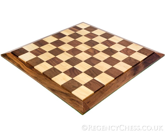 18 Inch Solid Walnut and Maple Chess Board Bevel Edge