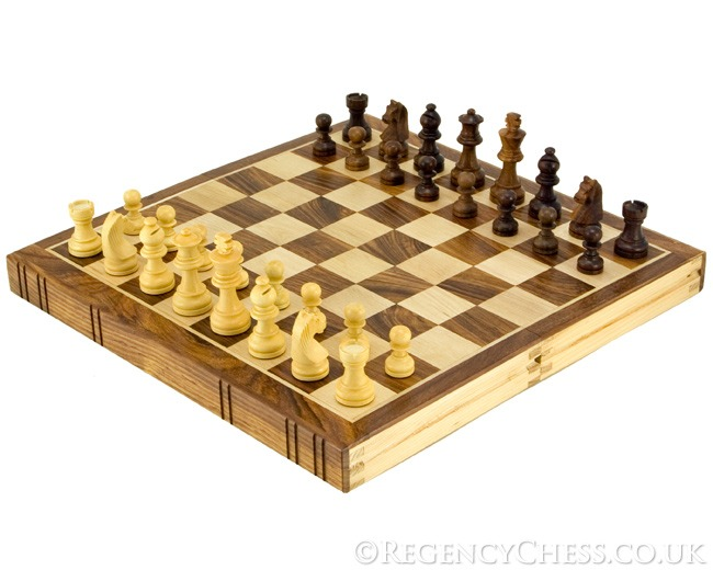 12 Inch Bookend Inlaid Golden Rosewood Chess Set