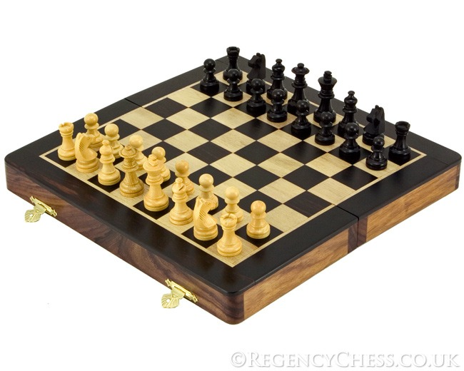 10 Inch Ebony and Rosewood Magnetic Folding Chess Set