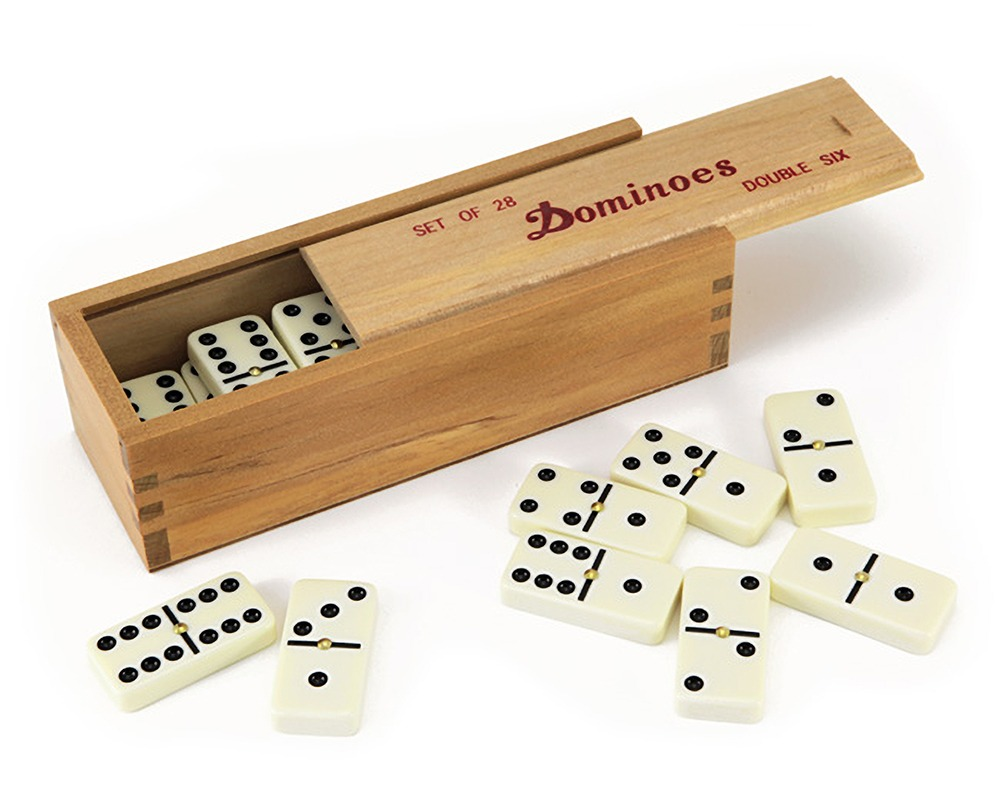 Dominoes 6's with Spinners in Wooden Case