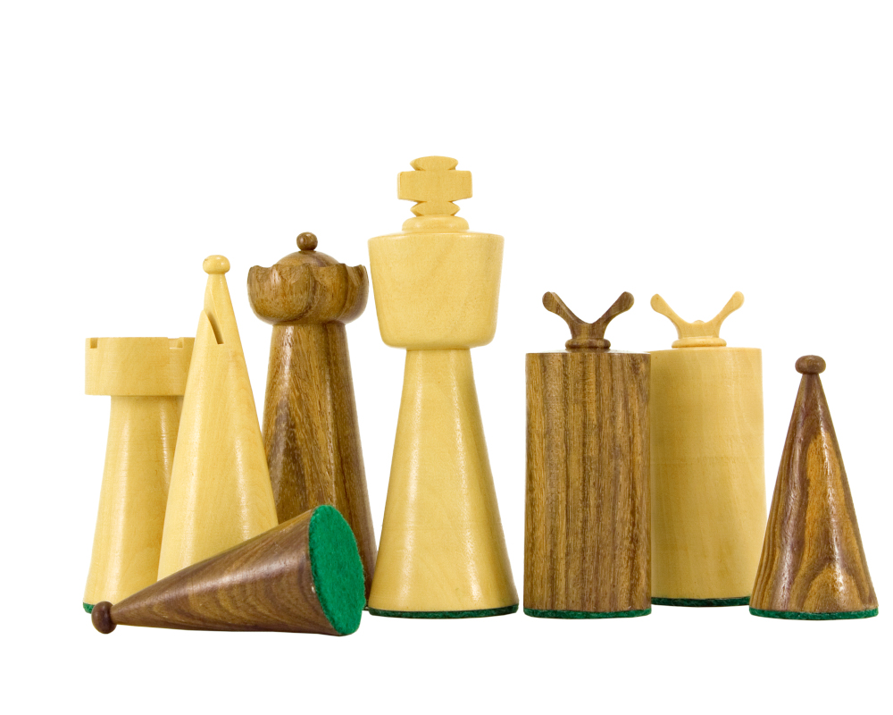 Art Deco Series Sheesham and Boxwood Chess Pieces 3.5 inches