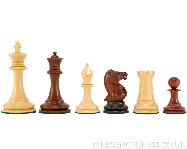 Old English Elite Red Sandalwood Staunton Chessmen 3.5 Inches