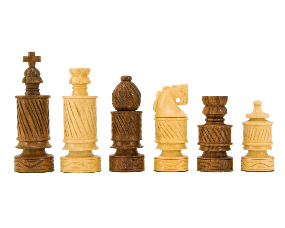 Coiled Jerusalem Hand Carved Golden Rosewood Chess Pieces