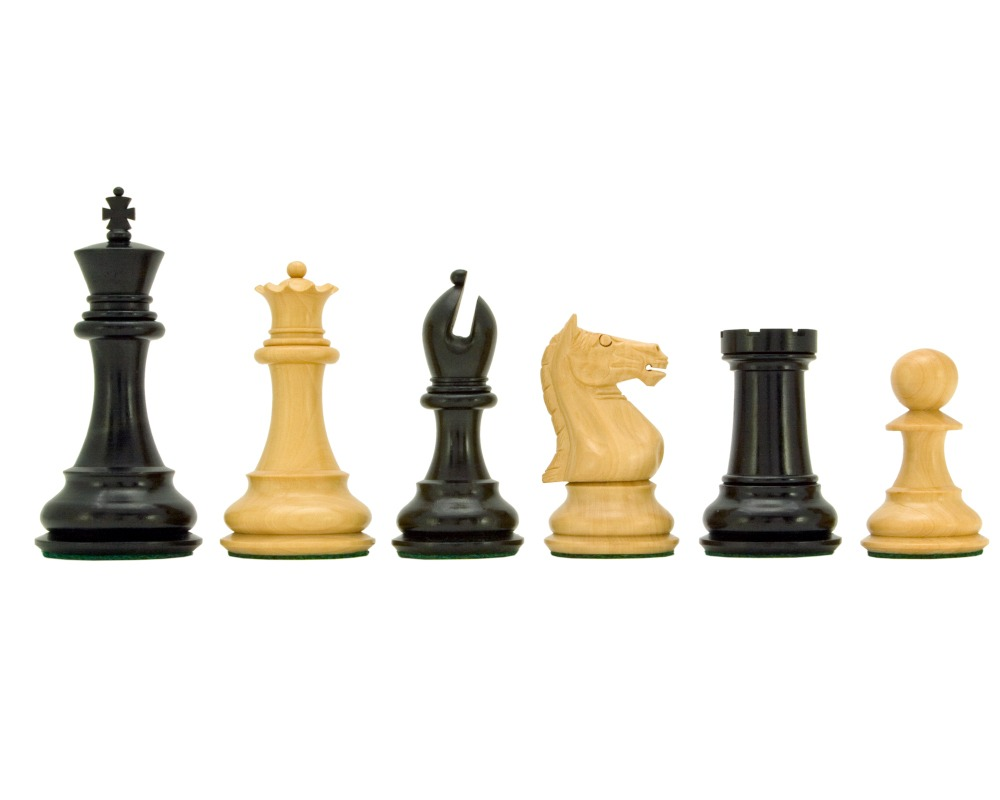Sentinel Series Ebony and Boxwood Staunton Chess Pieces 4 Inches