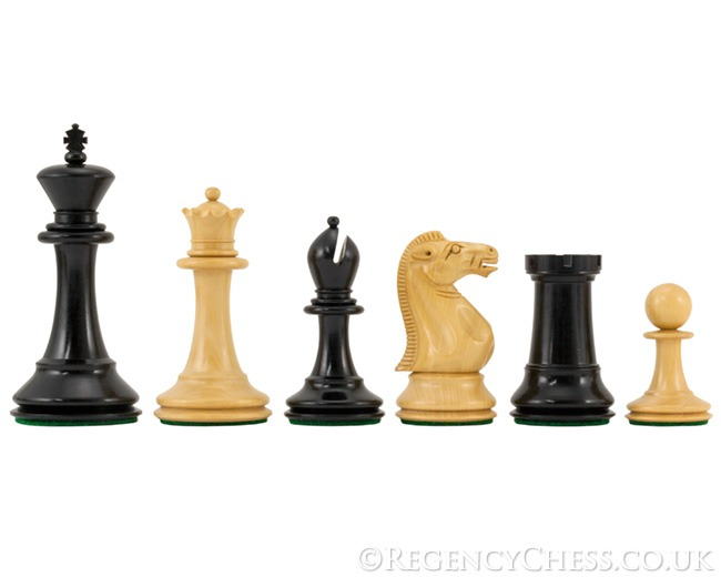 Dunoon Series Ebony Staunton Chess Pieces 4.5 Inches