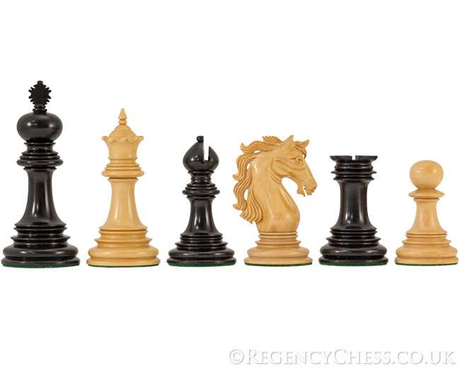 Constantine Luxury Ebony Chess Pieces with Case 4.5 Inches