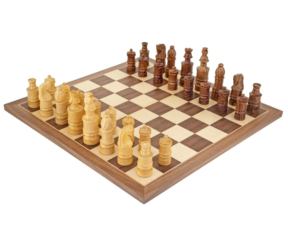 Coiled Jerusalem Sheesham and Walnut Chess Set