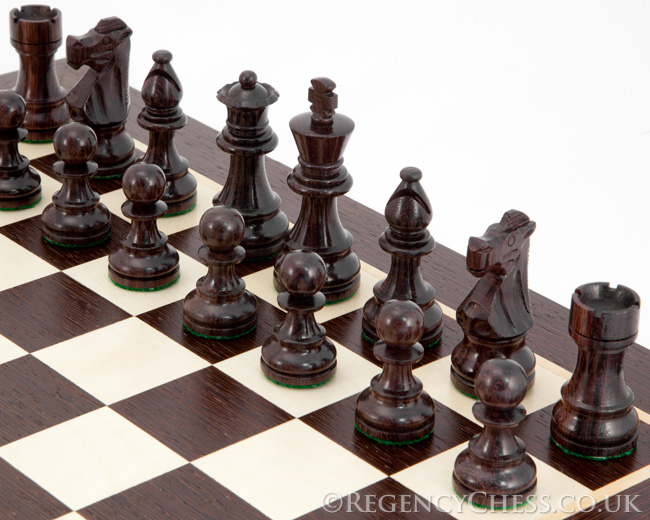 French Knight Rosewood Wenge Chess Set