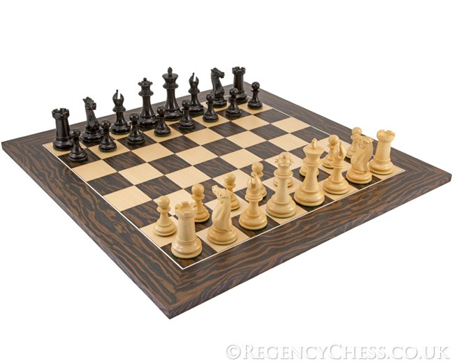 Maldon Tiger Ebony Deluxe Staunton Chess Set