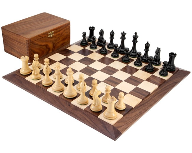 Oxford Ebonised Chess Set with Solid Walnut Chessboard