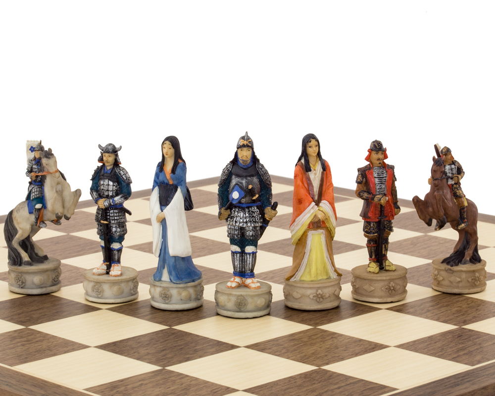 The Samurai hand painted themed Chess set by Italfama