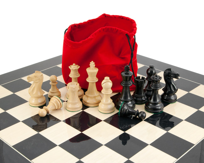 Frankfurt Grand Black Anegre Chess Set