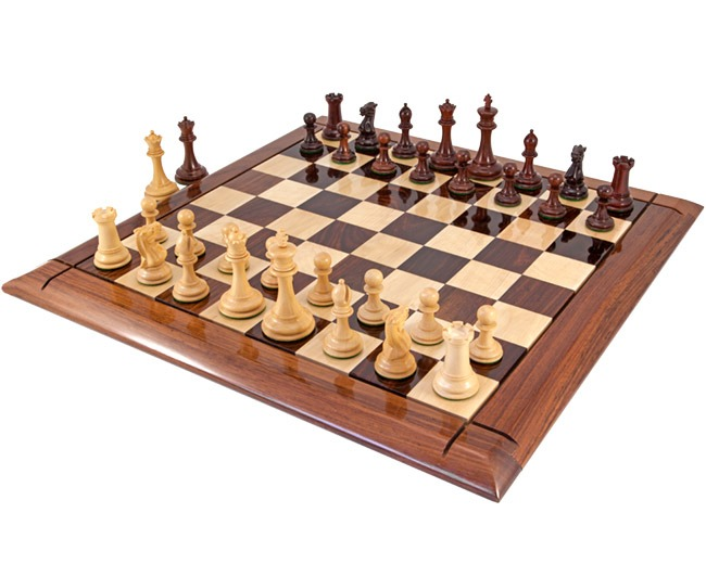 Old English Elite Red Sandalwood and Rosewood Chess Set