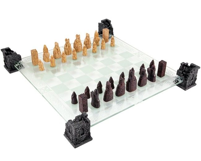 Isle of Lewis Chessmen with Glass Chess Board