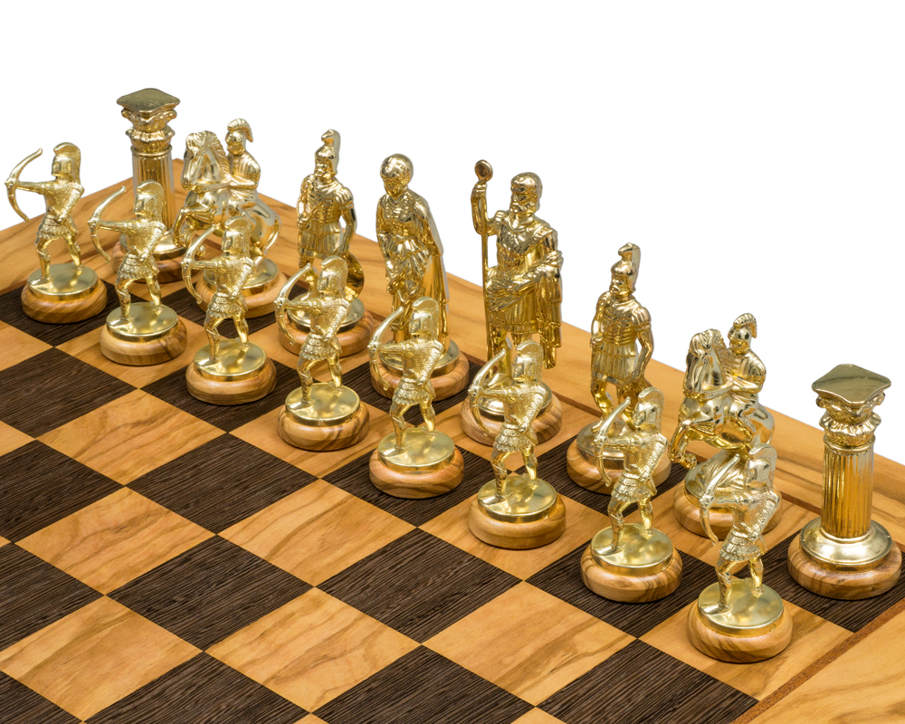 Olive Wood Archers Chess Set Se10 The