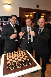 Julian & Darren toast the new set with it's producer Aditya Chopra