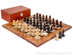 Corinthian Luxury Burl Chess Set