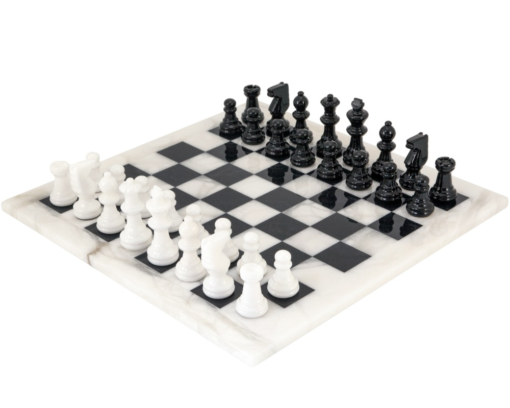 Black and White Alabaster Chess Set 14.5 Inches