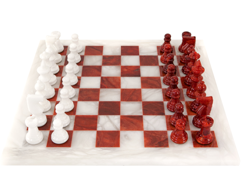 Red and White Alabaster Chess Set 14.5 Inches