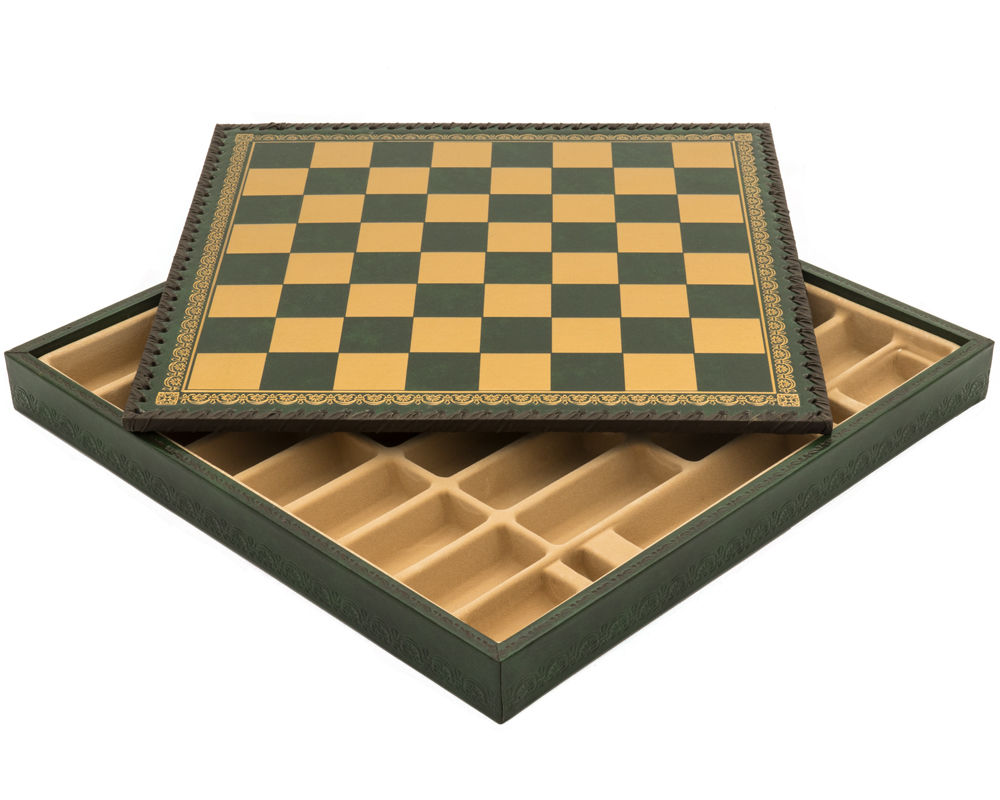 The Italian Verde 13.75 Inch Chess Cabinet With Removable Lid and Draughts