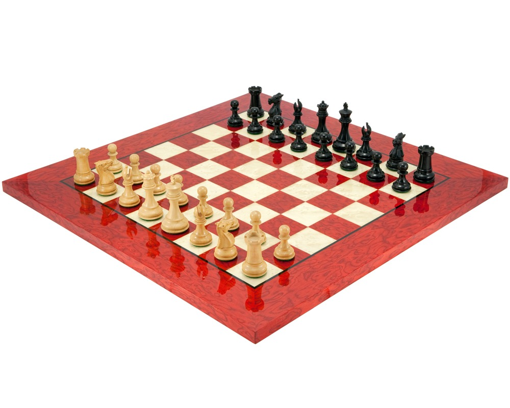 Windsor Ebony and Red Luxury Chess Set