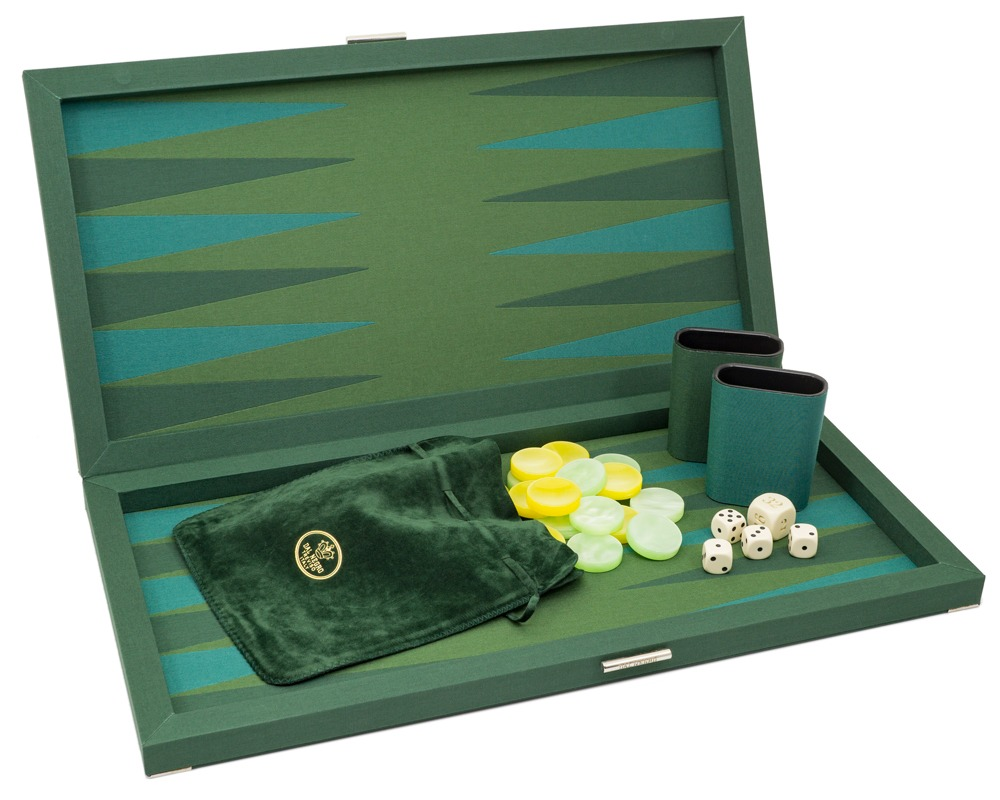 Dal Negro Green Fabric Deluxe Backgammon Set